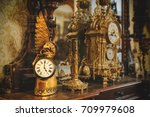 old vintage antique bronze... | Shutterstock . vector #709979608
