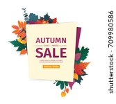 design banner with autumn sale... | Shutterstock .eps vector #709980586