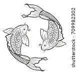 hand drawn outline koi fish and ... | Shutterstock .eps vector #709982302