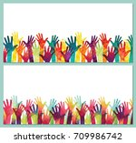 colorful up hands. day of peace.... | Shutterstock .eps vector #709986742
