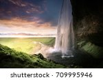 seljalandsfoss waterfall at... | Shutterstock . vector #709995946