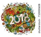 cartoon vector cute doodles... | Shutterstock .eps vector #710000608