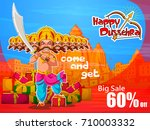 lord rama in happy dussehra... | Shutterstock .eps vector #710003332