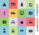 set of 16 editable motel icons. ... | Shutterstock .eps vector #710003872