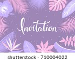 tropical leaves and flowers... | Shutterstock .eps vector #710004022