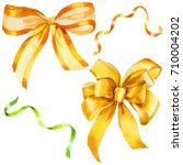 watercolor holiday yellow... | Shutterstock . vector #710004202