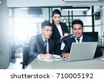 asian business team. image with ... | Shutterstock . vector #710005192