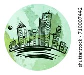 sketch illustration of a city... | Shutterstock .eps vector #710007442