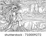 zendoodle .sad girl shaman... | Shutterstock .eps vector #710009272