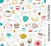 tea  coffee and bakery.... | Shutterstock .eps vector #710013886