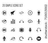 set of 20 editable audio icons. ...
