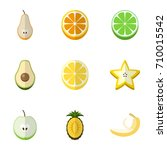 set of 9 editable fruits flat...