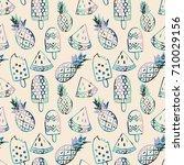 hand drawn ice cream  pineapple ... | Shutterstock .eps vector #710029156