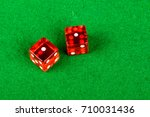 Craps dice showing double one - stock photo