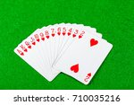 Cards showing just suit hearts - stock photo