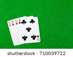 4 of a kind playing cards Fives - stock photo