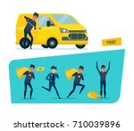 set of offenders  thief...   Shutterstock .eps vector #710039896