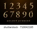 set of elegant gold colored... | Shutterstock .eps vector #710042185