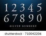 set of elegant silver colored... | Shutterstock .eps vector #710042206