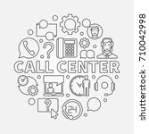 call center round illustration. ... | Shutterstock .eps vector #710042998