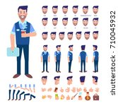 front  side  back view animated ... | Shutterstock .eps vector #710045932