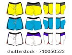 set of sport shorts template | Shutterstock .eps vector #710050522