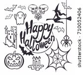 halloween poster design set... | Shutterstock .eps vector #710052406