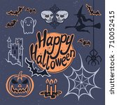 halloween poster design set... | Shutterstock .eps vector #710052415