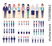 big set of vector people. front ... | Shutterstock .eps vector #710058862