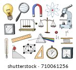 compass and magnet  ammeter... | Shutterstock .eps vector #710061256
