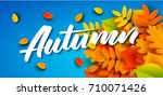 autumn banner template with... | Shutterstock .eps vector #710071426