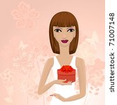 girl with a gift | Shutterstock .eps vector #71007148