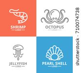 set of jellyfish and seafood ... | Shutterstock .eps vector #710074738