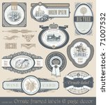 Stock vector vector set of vintage framed ornate labels page decor design element 71007532
