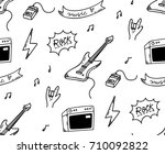 rock music theme doodle... | Shutterstock .eps vector #710092822