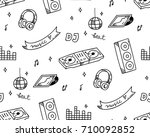 disco music theme doodle... | Shutterstock .eps vector #710092852