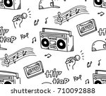 hip hop music theme doodle... | Shutterstock .eps vector #710092888