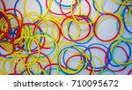 colorful rubber band top view   Shutterstock . vector #710095672