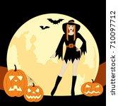 halloween witch  | Shutterstock .eps vector #710097712