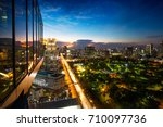 evening period cityscape at... | Shutterstock . vector #710097736