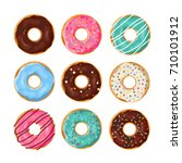 set of cartoon colorful donuts... | Shutterstock .eps vector #710101912