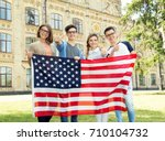 group of american students... | Shutterstock . vector #710104732