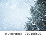 christmas tree pine or fir with ... | Shutterstock . vector #710105602