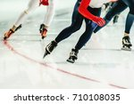 group speed skaters women warm... | Shutterstock . vector #710108035