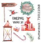 christmas illustration set.... | Shutterstock . vector #710111068