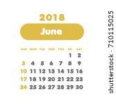 simple june 2018 calendar. week ... | Shutterstock .eps vector #710115025