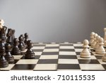 wood chess piece knight on... | Shutterstock . vector #710115535