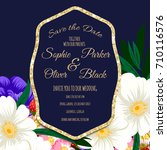 wedding invitation card suite... | Shutterstock .eps vector #710116576
