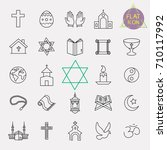 religion line icon set | Shutterstock .eps vector #710117992