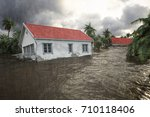 flooding houses with rising... | Shutterstock . vector #710118406